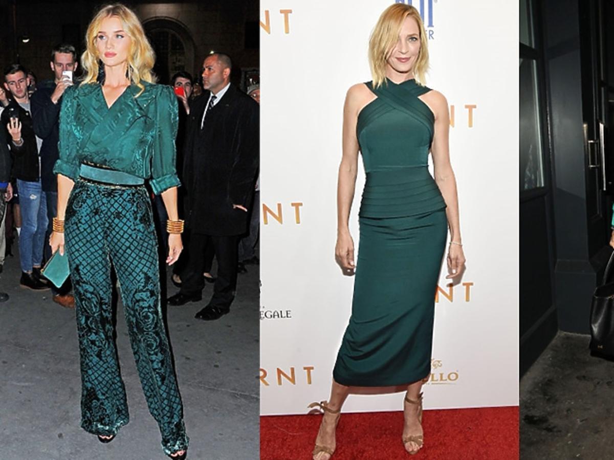 Uma Thurman, Rosie Huntington-Whiteley i Amal Clooney w ubraniach w zielonym kolorze