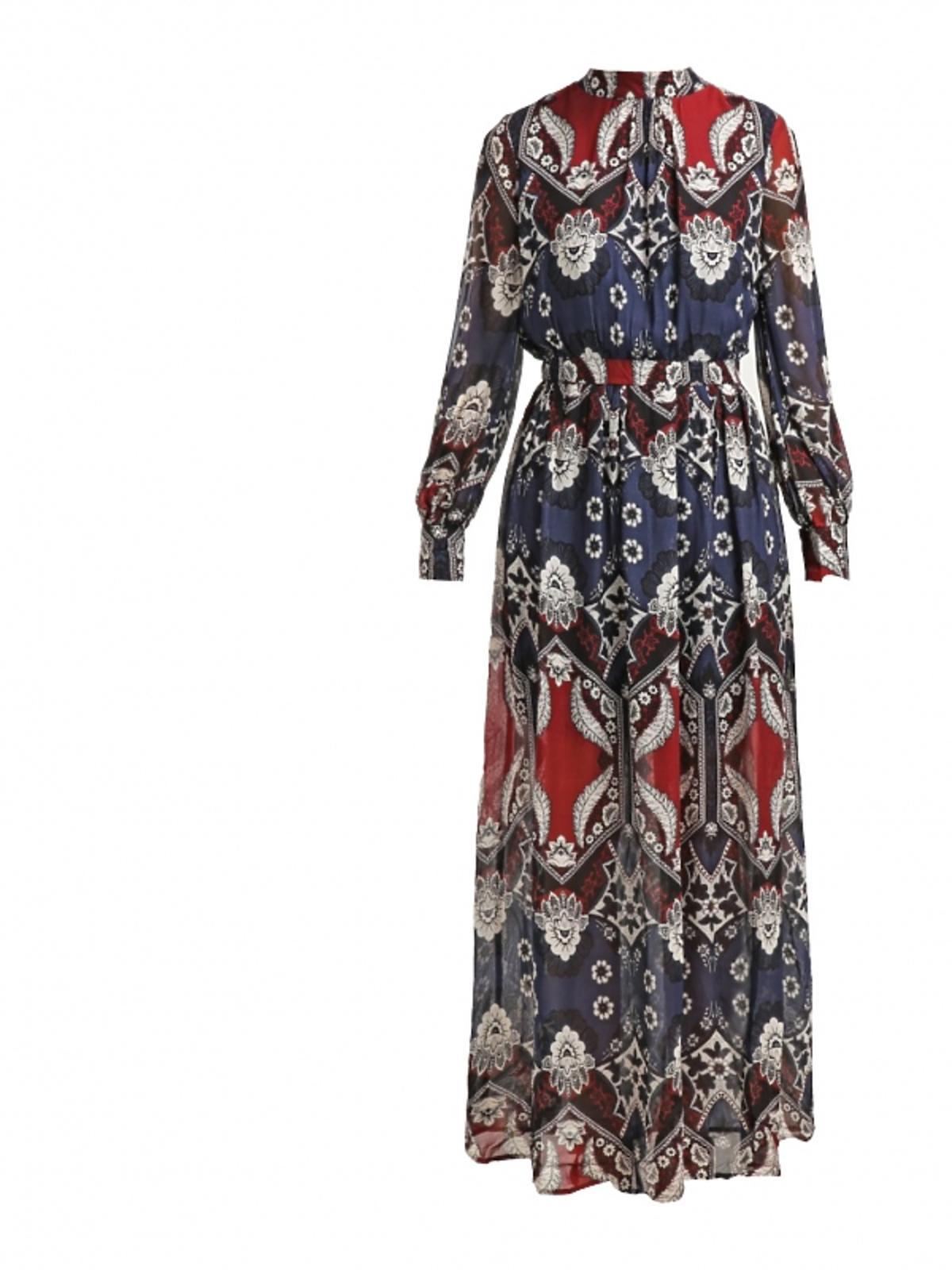 długa niebiesko-czerwona sukienka w białe kwiaty