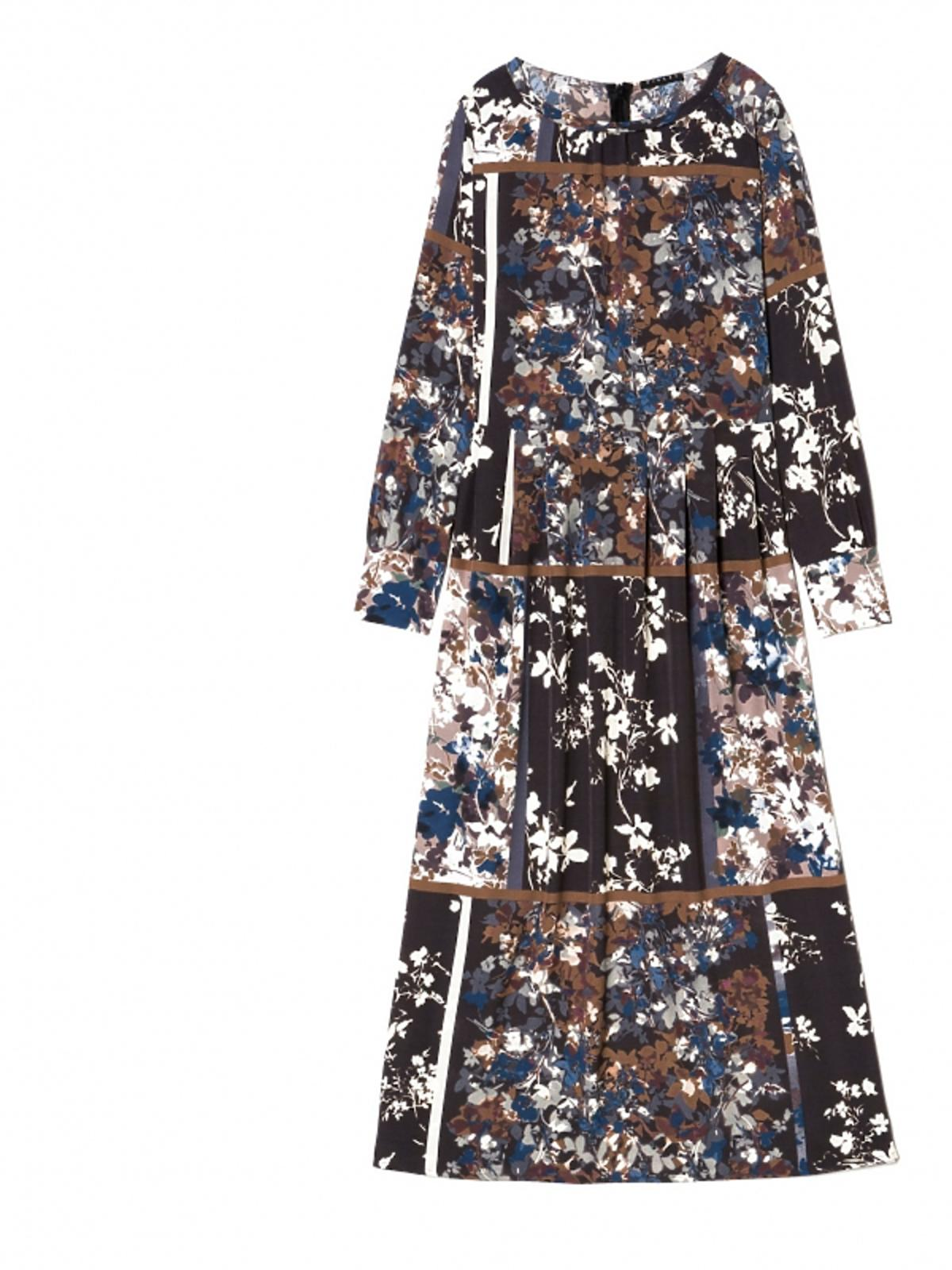 długa sukienka brązowa w kwiaty