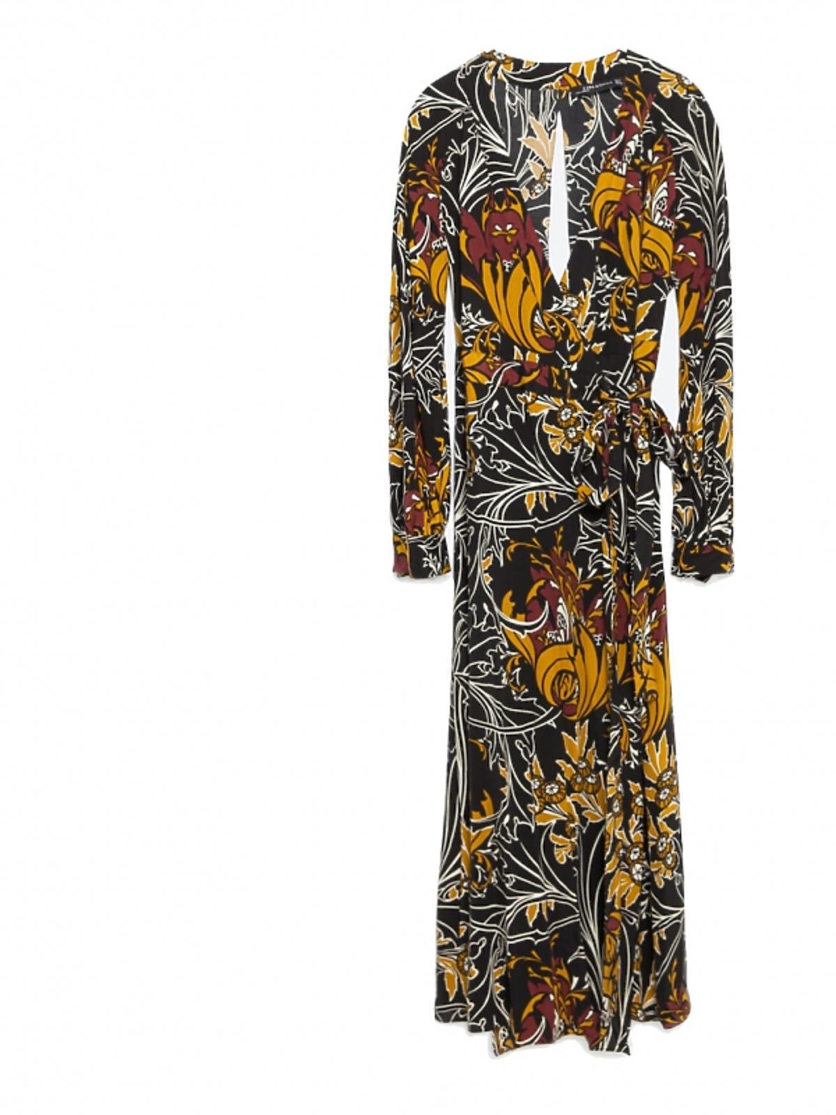 długa czarna sukienka w żółte i brązowe kwiaty
