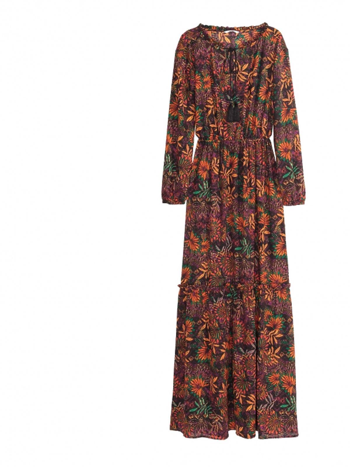 długa sukienka w odcieniach brązu,zieleni,fioletu i rudości