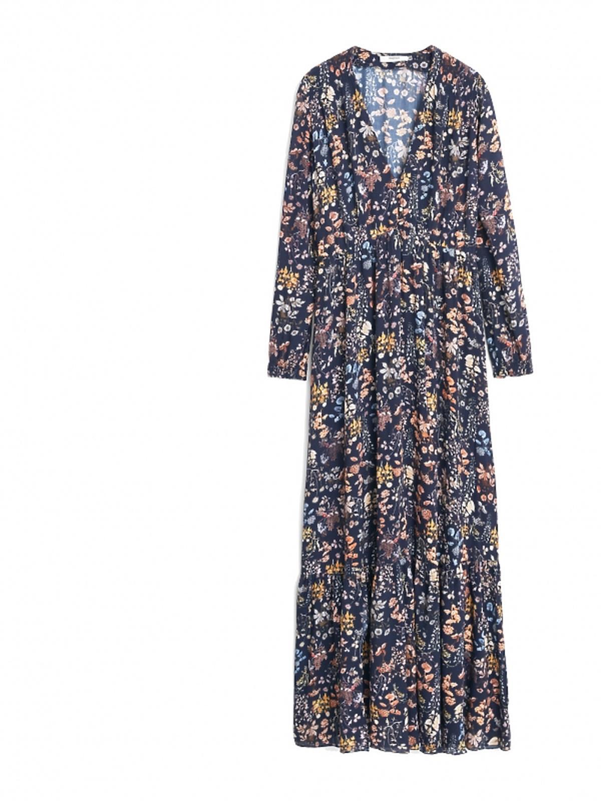 długa granatowa sukienka w drobne kwiatki