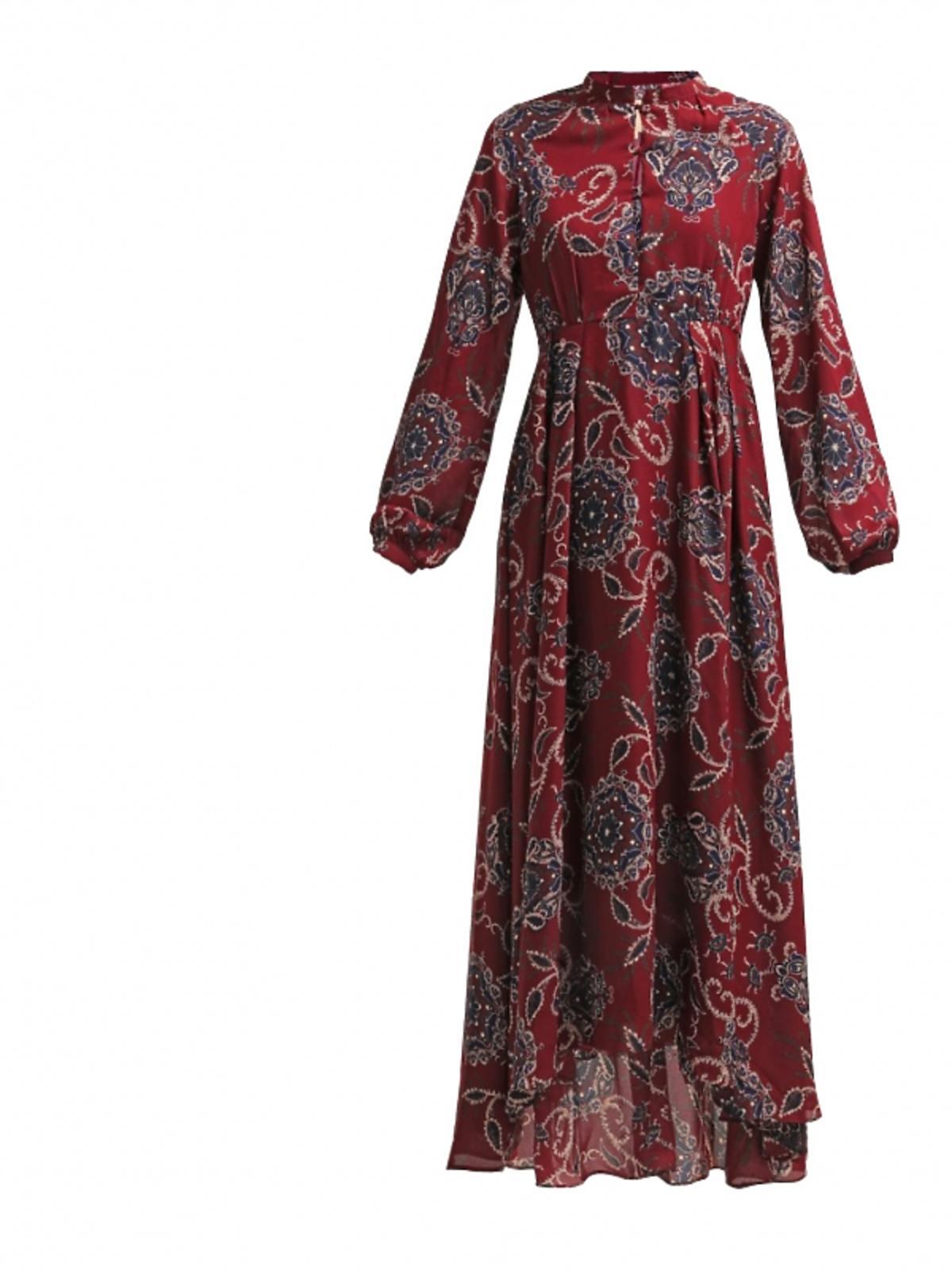 długa bordowa sukienka w granatowe kwiaty