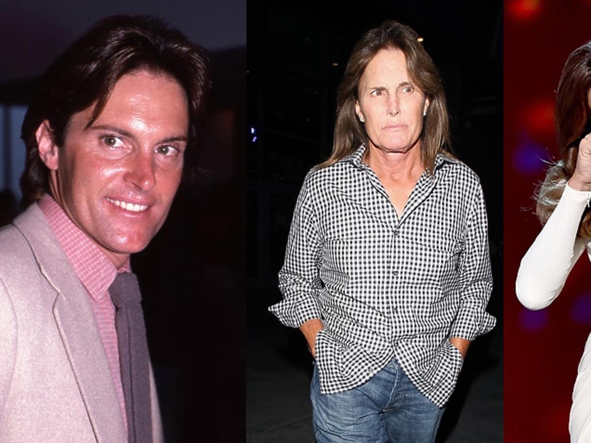 Bruce Jenner na dwóch zdjęciach, na trzecim portret Bruca po zmianie płci jako Caitlyn Jenner