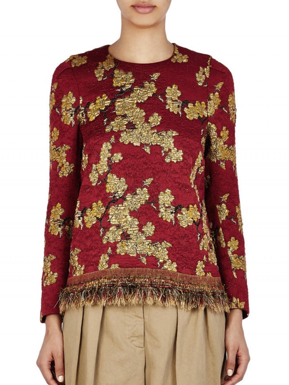 bluzka bordowa ze złotymi printami z frędzlami