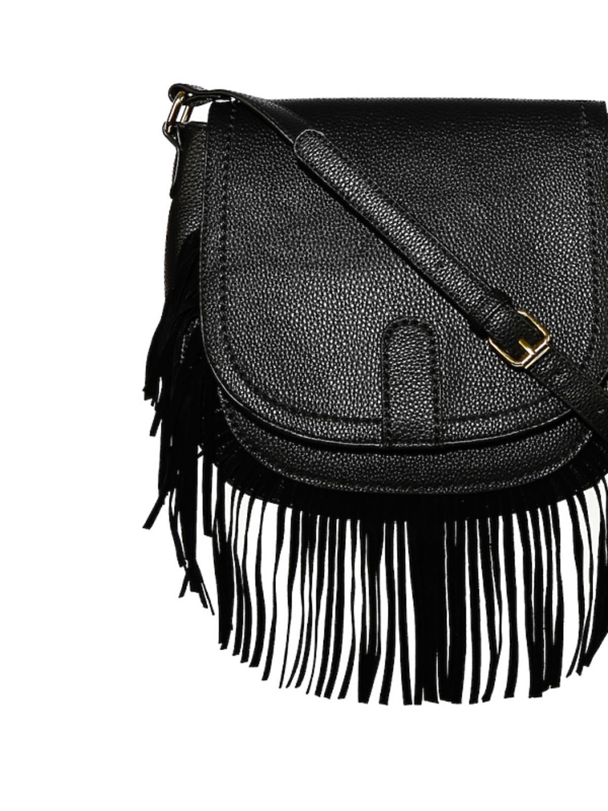 czarna torba z frędzlami na pasku