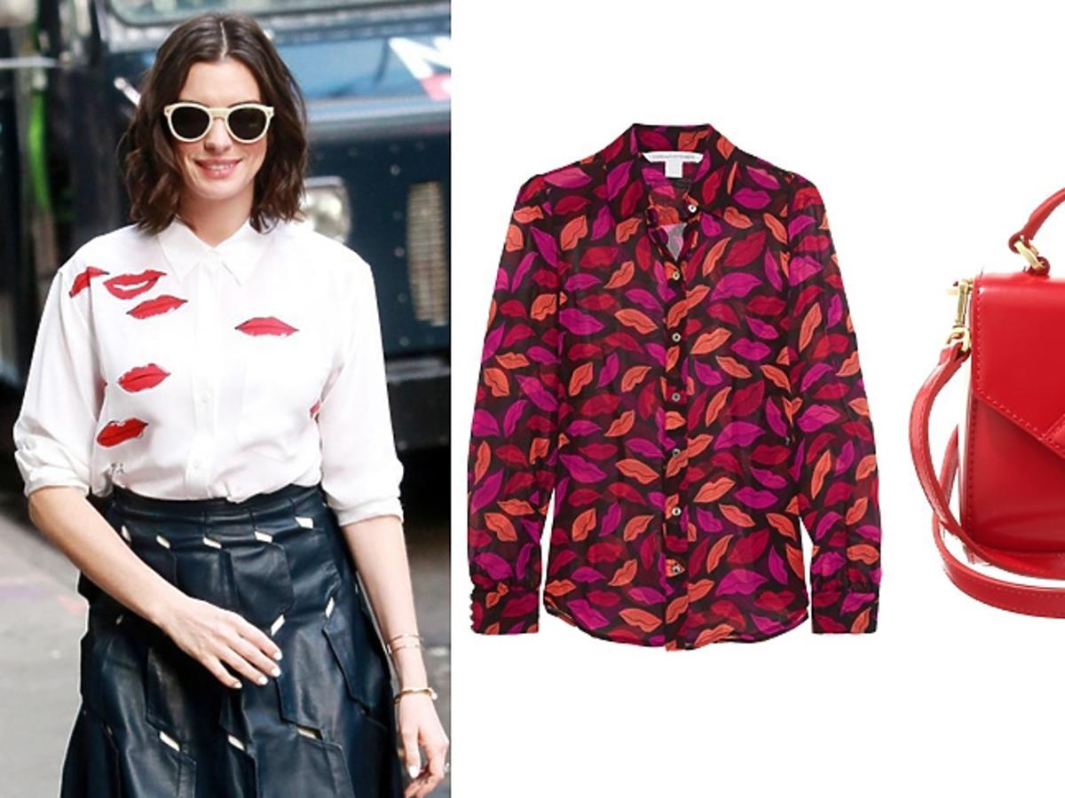 Anne Hathaway i ubrania i dodatki z motywem ust