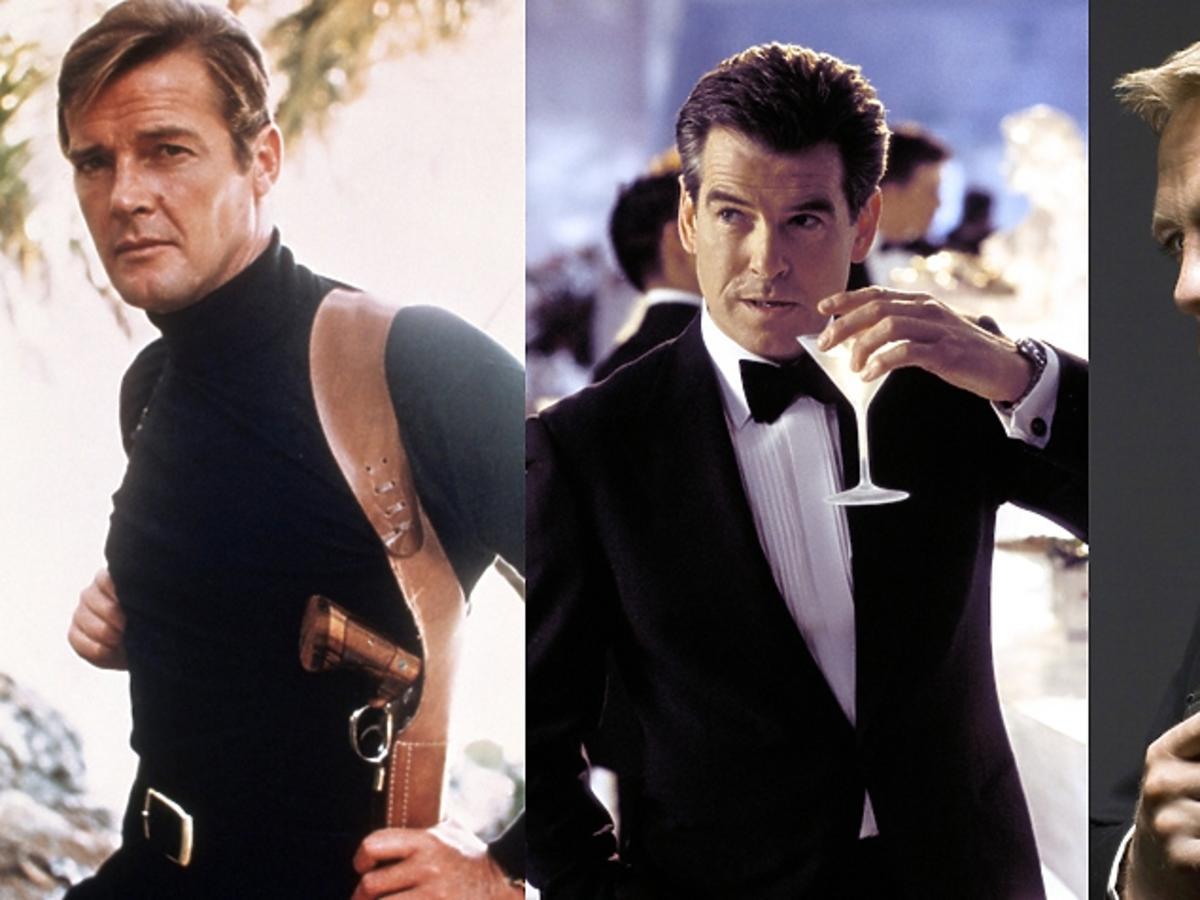 Trzy portrety aktorów grajacych Jamesa Bonda