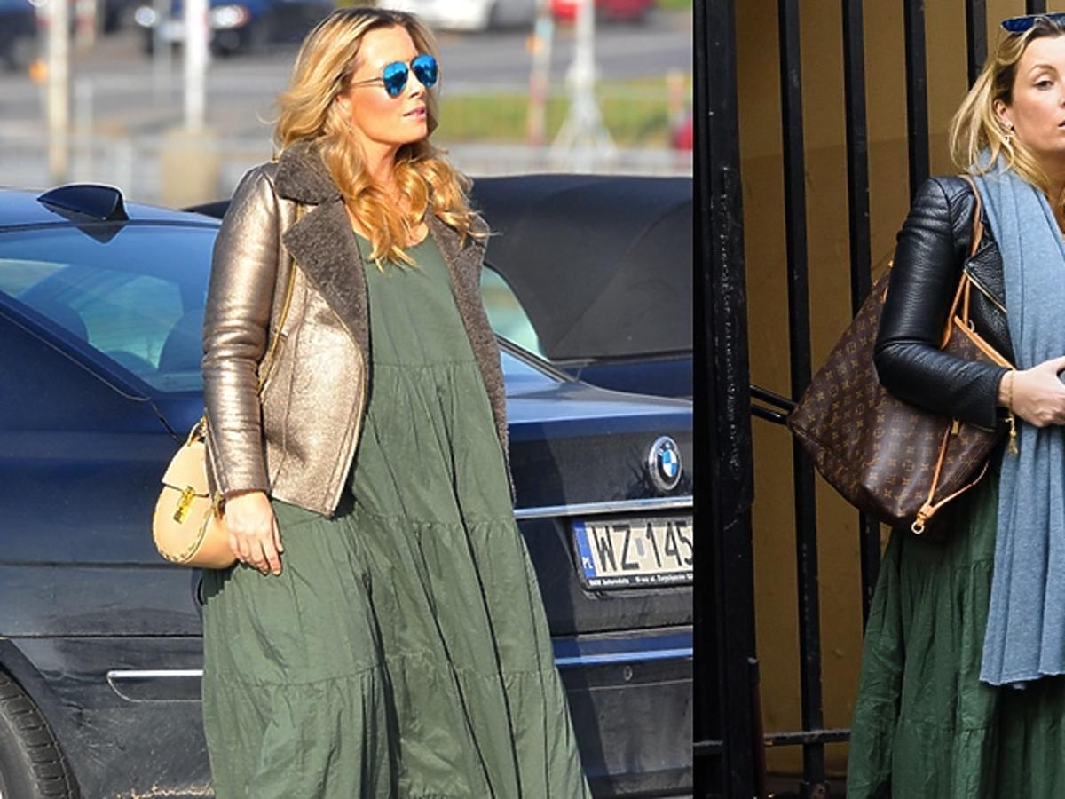 Karolina Ferenstein-Kraśko w zielonej sukience, złotym kożuszku, beżową torebka, czarnek kurtce, brązową torbą
