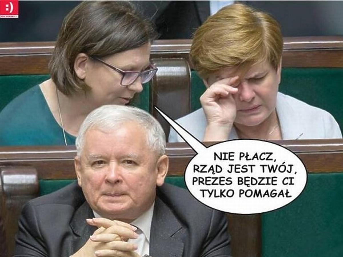 Memy z Jarosławem Kaczyńskim i Beatą Szydło po ogłoszeniu składu rządu