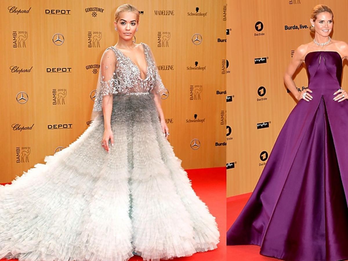 Heidi Klum, Rita Ora w srebrnej i fioletowej sukni