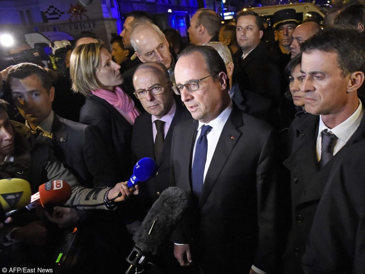 Prezydent Francji na konferencji przed klubem muzycznym, w którym zginęło ponad 100 zakładników