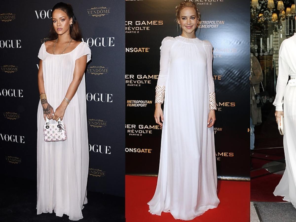 Rihanna, Jenniffer Lawrence, Selena Gomez w długich białych sukienkach
