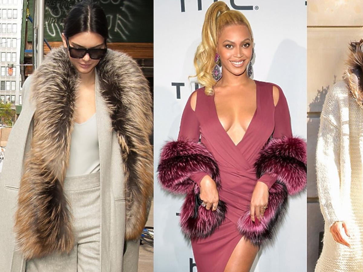Jennifer Lopez, Kendall Jenner, Beyonce z futrzanym szalem
