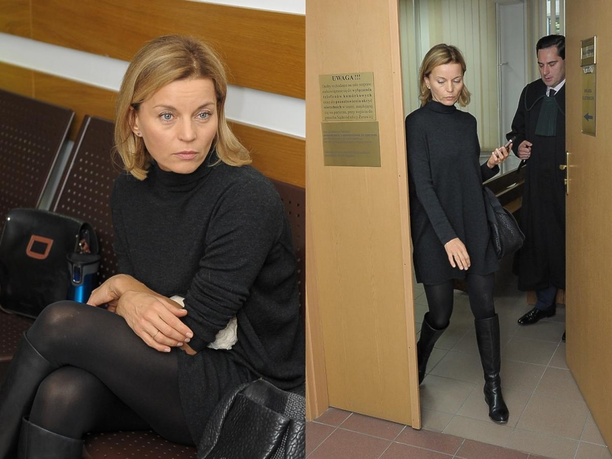Małgorzata Foremniak w szarej sukience