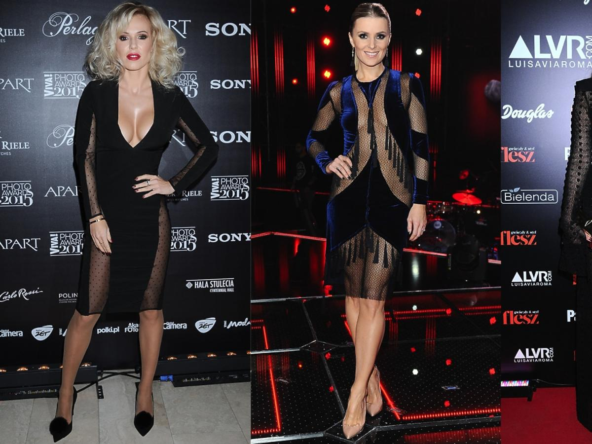 Doda, Halina Mlynkova, Joanna Horodyńska w ciemnych sukienkach z seksownymi prześwitami