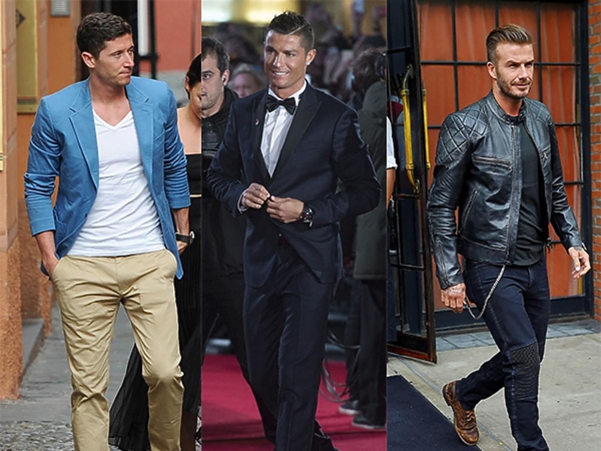 Ronaldo w garniturze i  muszce Robert Lewandowski w marynarce i jasnych spodniach i David Beckham w skórzanej kurtce i brązowych butach