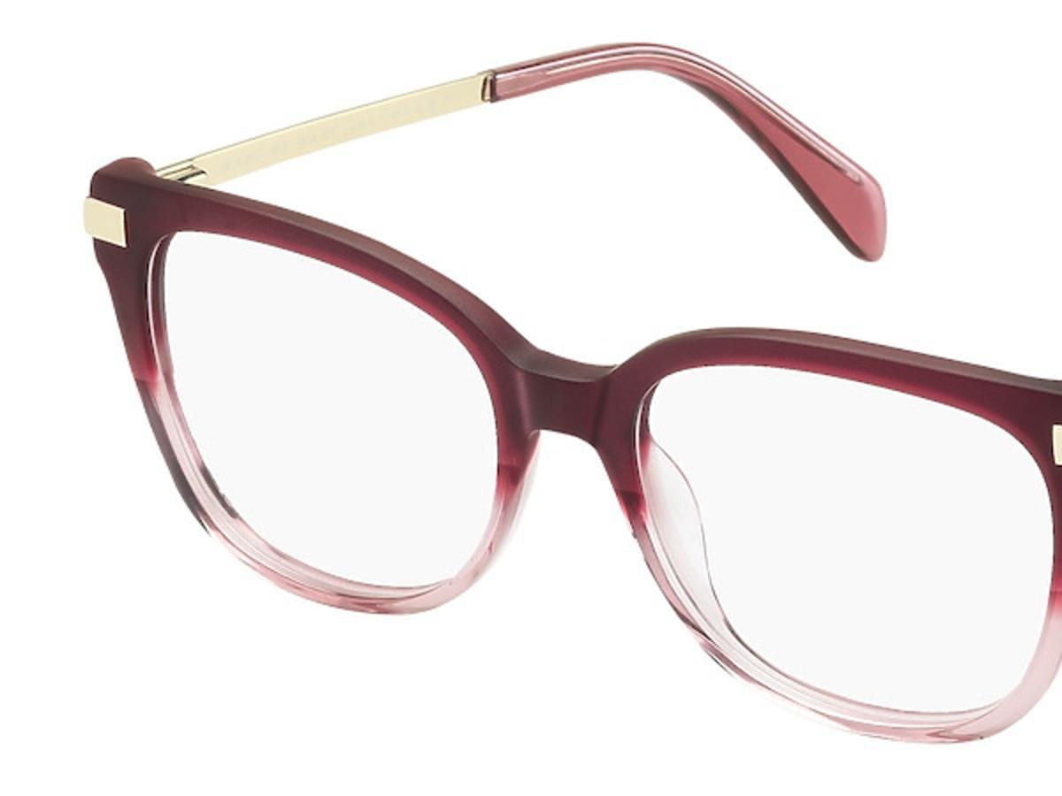 okulary korekcyjne czerwono-różowe