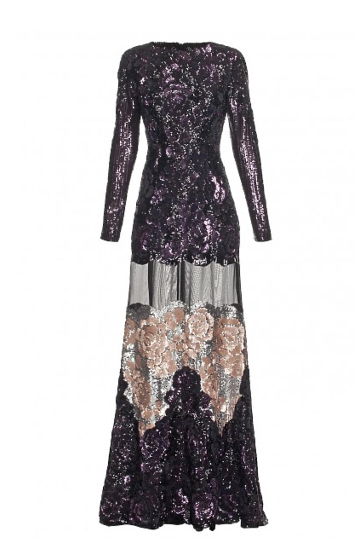 Maxi sukienka z czarnych i złotych cekinów