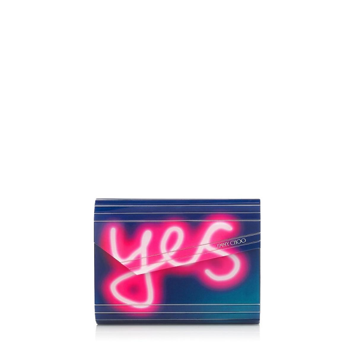 Torebka mała niebieska z różowym napisem YES