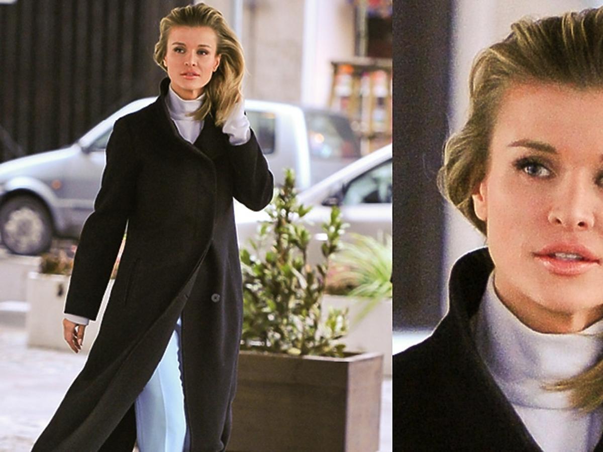 Joanna Krupa w czarnym płaszczu, niebieskim płaszczu, kremowym golfie