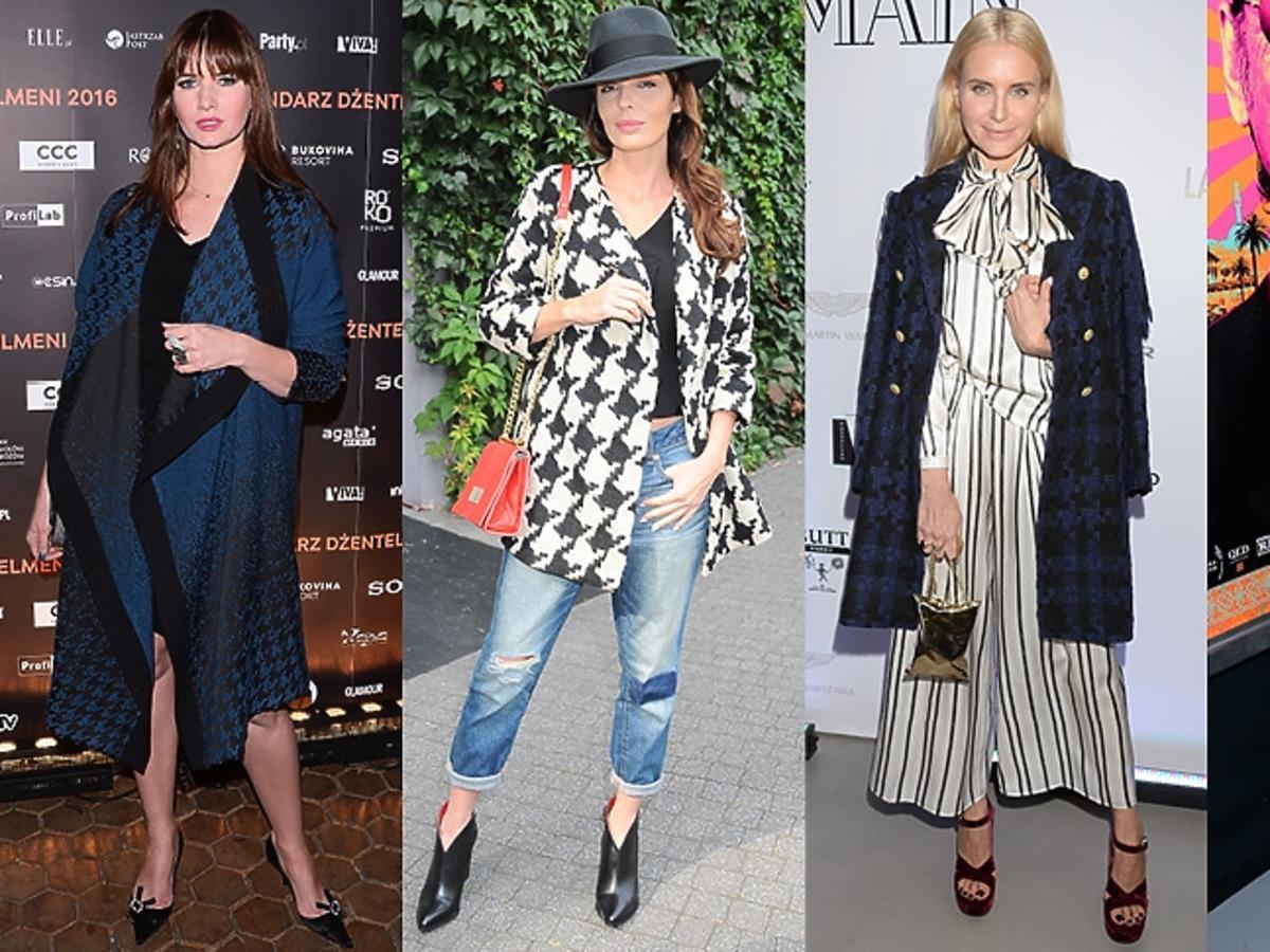 Karolina Malinowska, Agnieszka Włodarczyk, Joanna Horodyńska, Jennifer Lopez w płaszczach w pepitkę