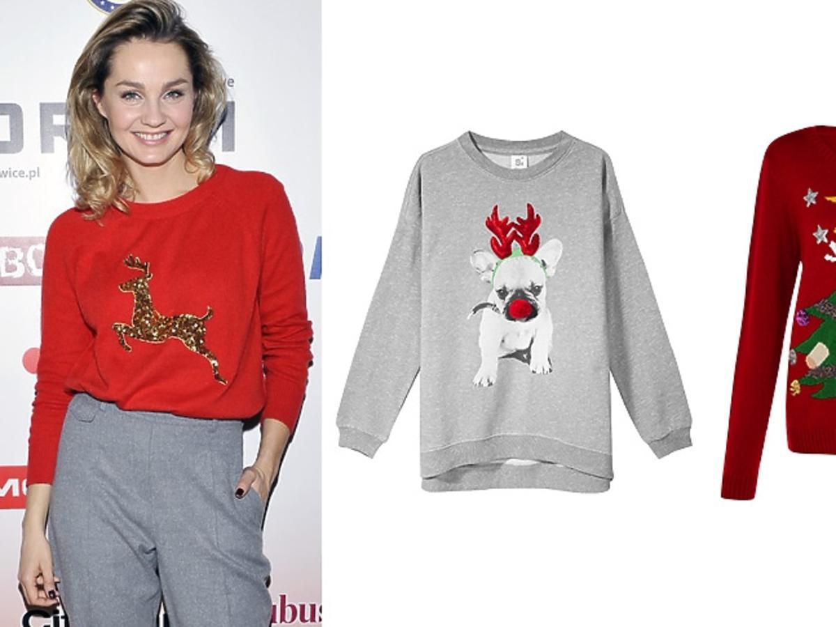 Małgorzata Socha w swetrze świątecznym