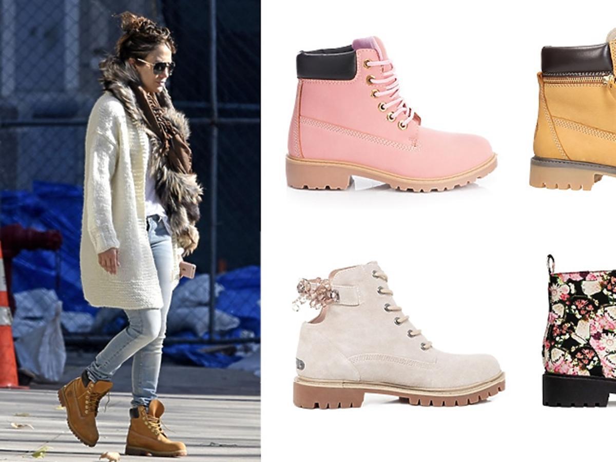 Jennifer Lopez w modnych taperach, kolorowe buty trapery