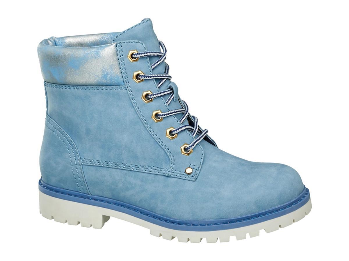 niebieskie buty trapery