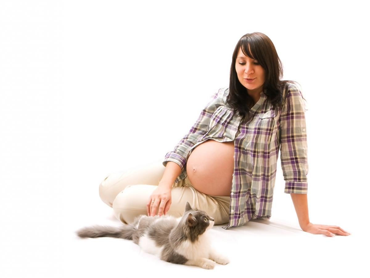 kobieta w ciąży siedząca z kotem