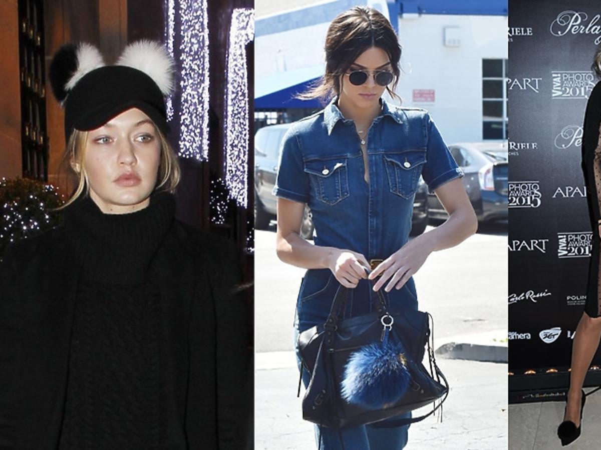Gigi Hadid, Kendall Jenner, Doda noszą futrzane pompony