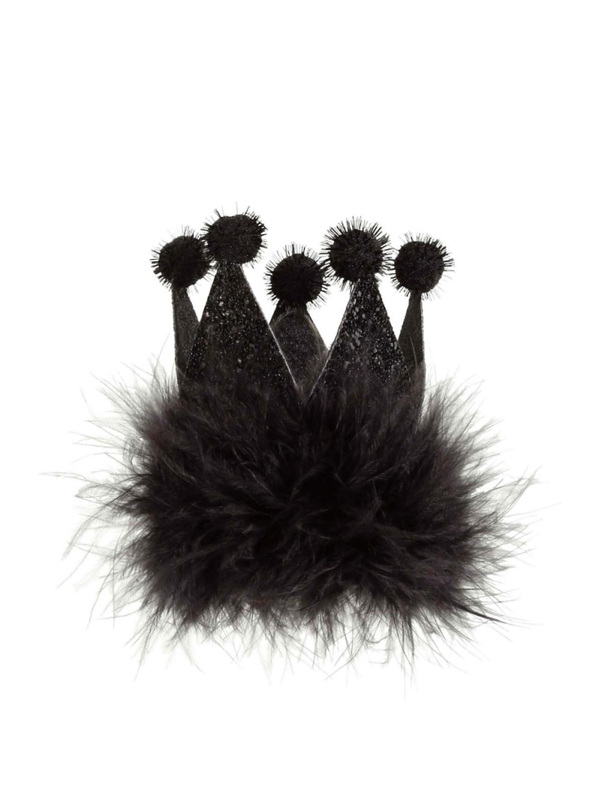 Czarna zapinka do włosów z futerkiem