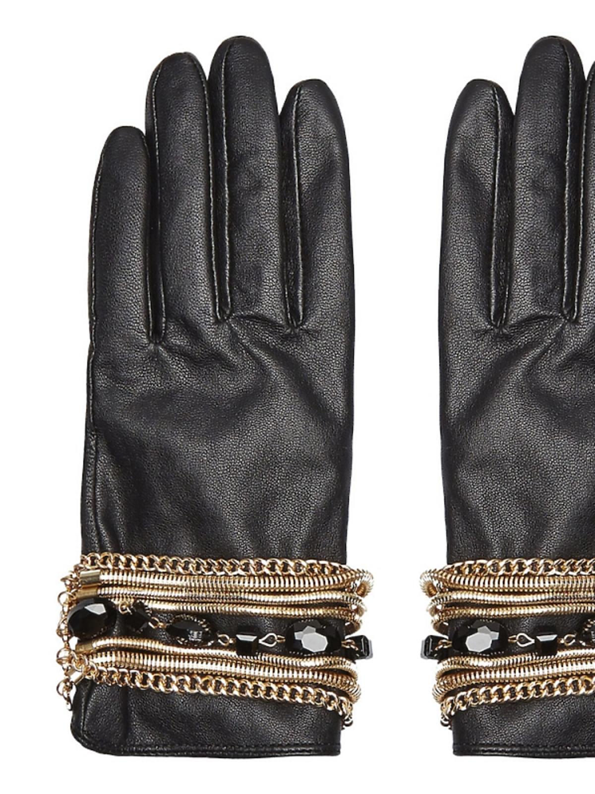 czarnę rękawoczki z ozdobnymi złotymi i czarnymi elementami