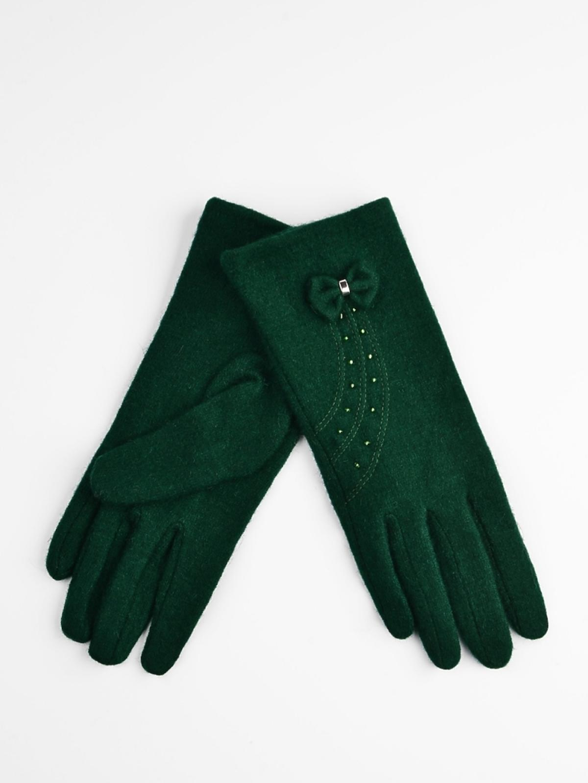 zielone rękawiczki z kokardką