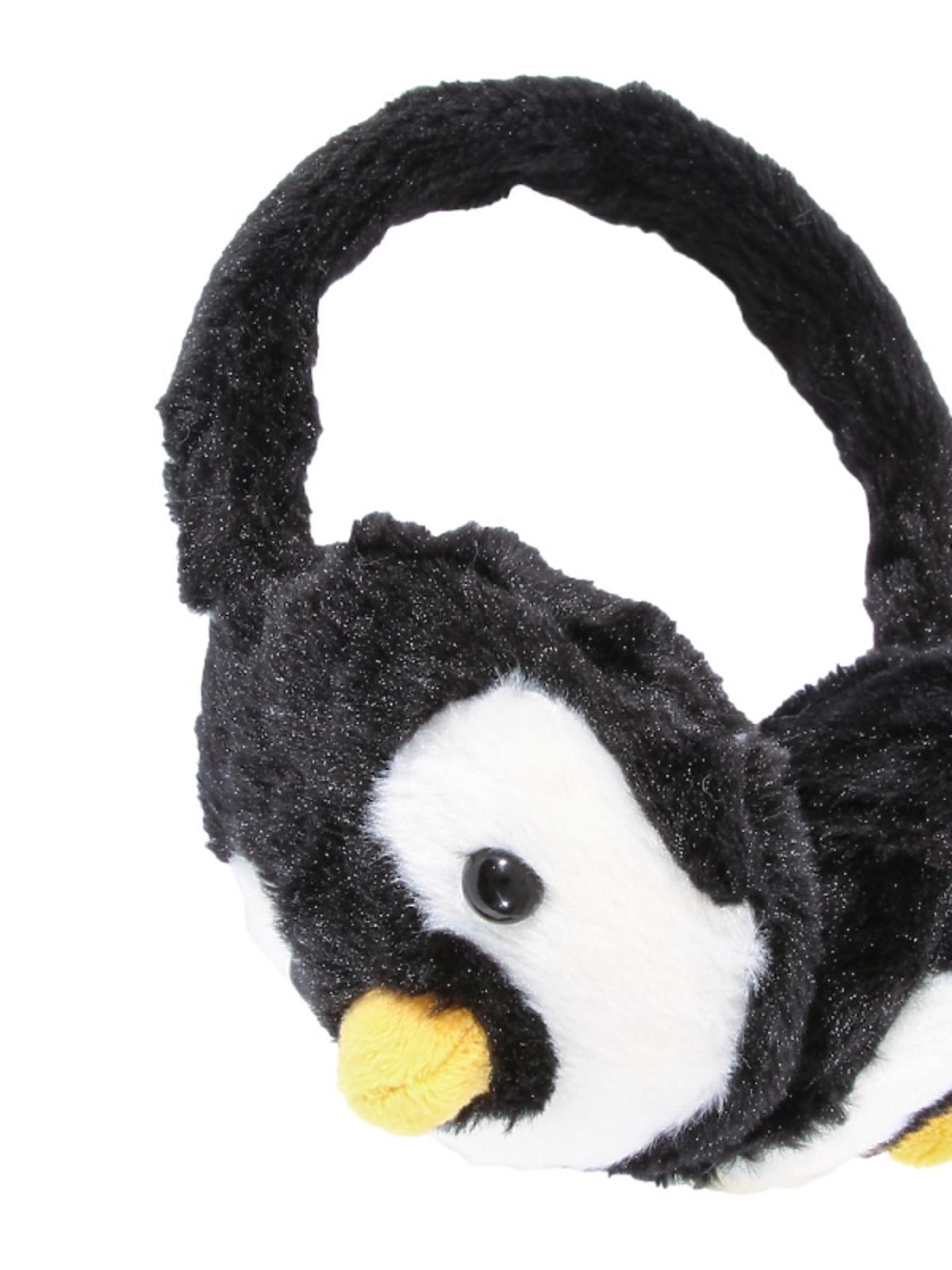 czarne nauszniki z głową pingwina