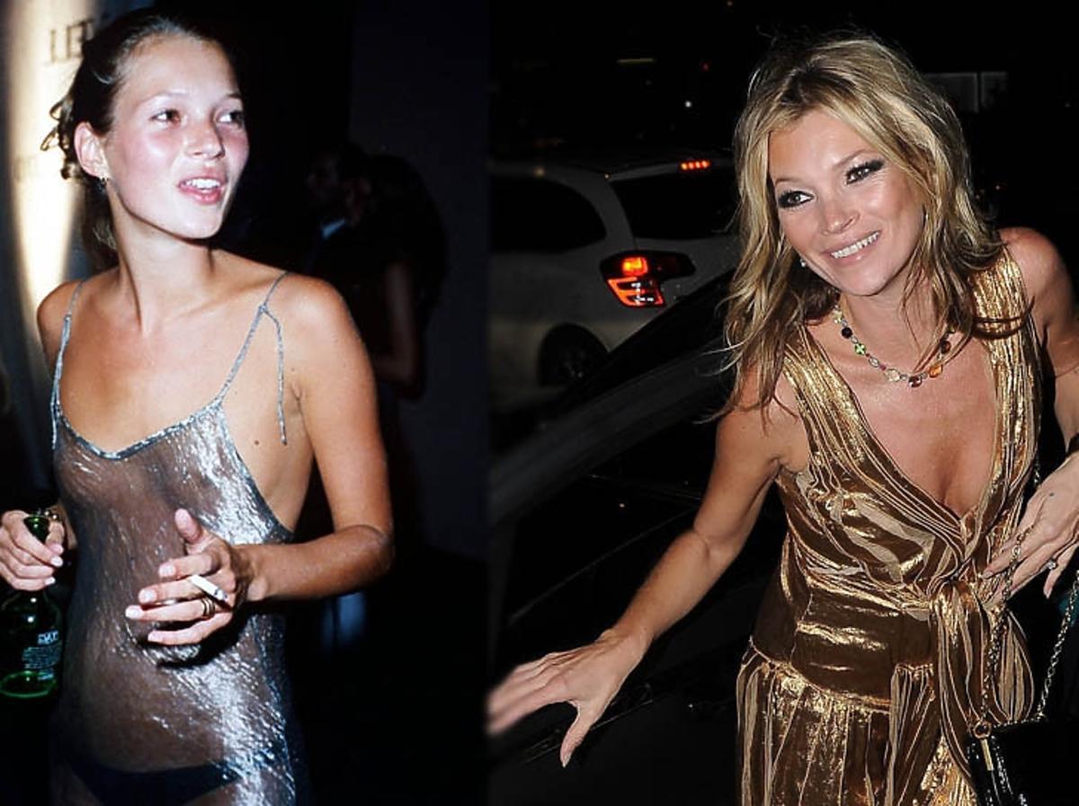Kate Moss w przezroczystej sukience i papierosem w 1993 i złotej sukience w 2013