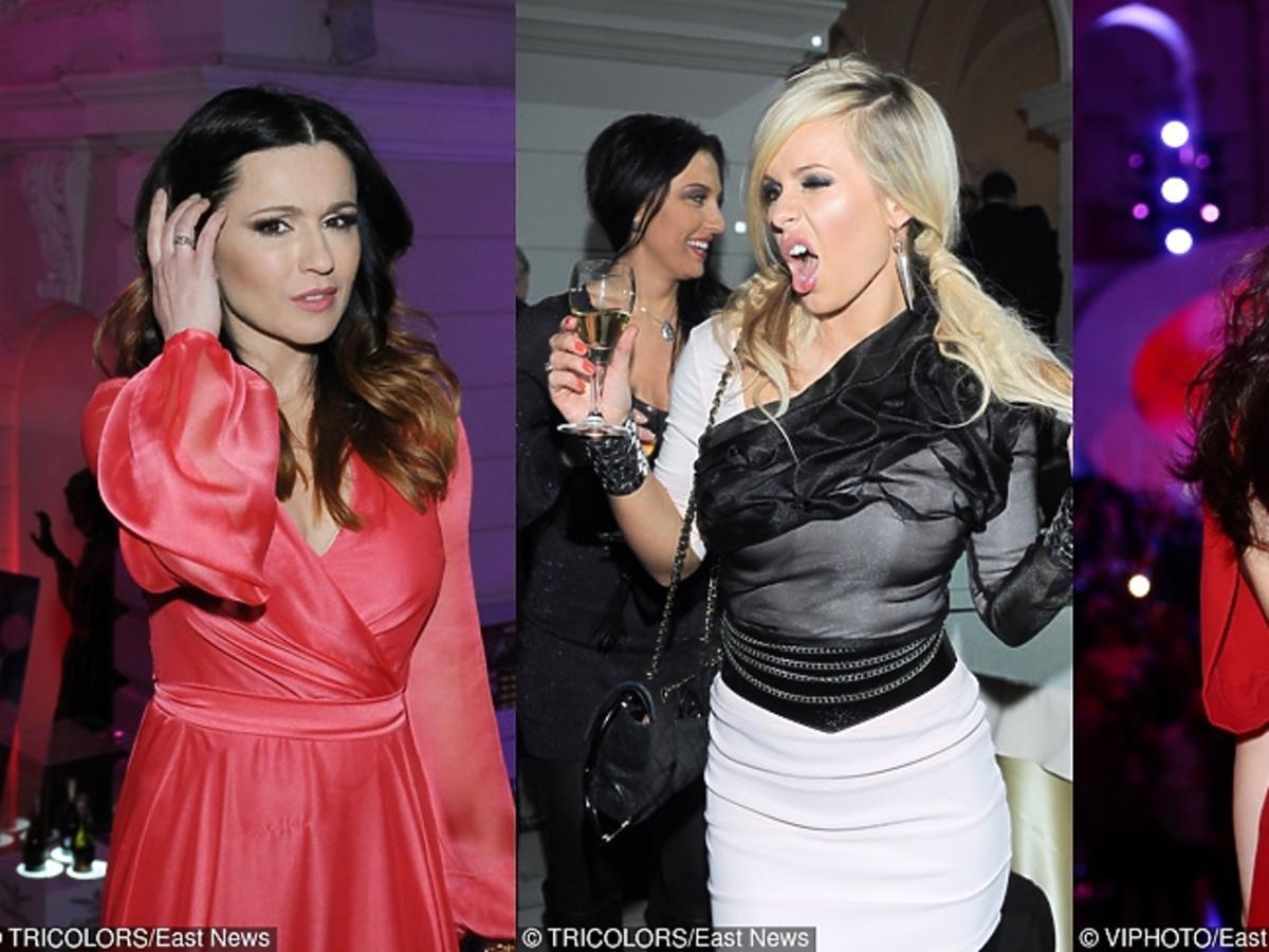 Beata Tadla i Kinga Rusin w czerwonych sukniach na balu charytatywnym dziennikarzy, Doda w czarno-białej stylizacji na tym samym balu