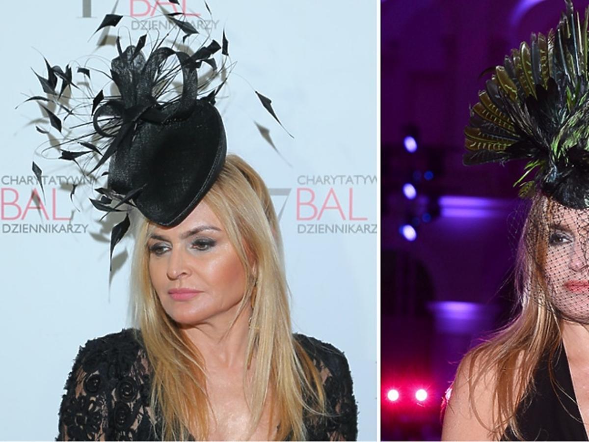 Monika Olejnik w czarnej koronkowej sukni ze stroikime na głowie , w stroiku w kształcie ptaka