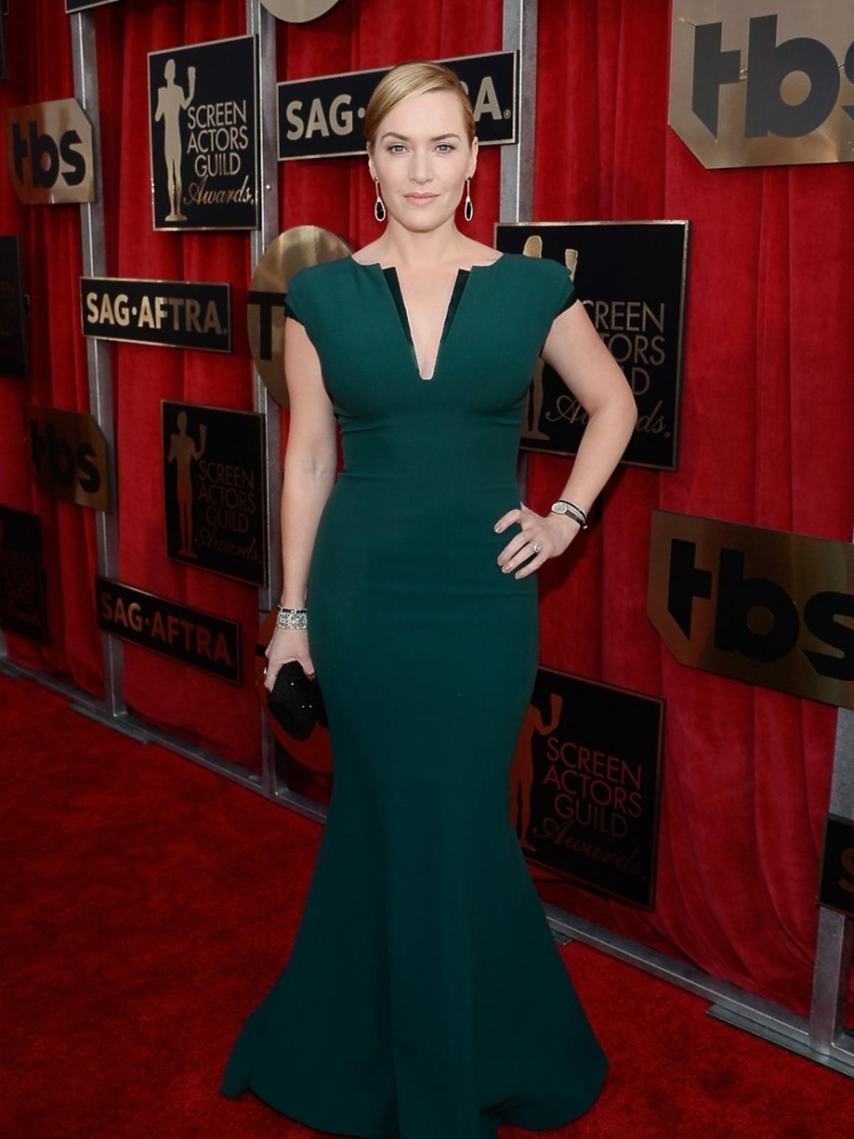 Kate Winslet wz ielonej sukni do ziemi na czerwonym dywanie