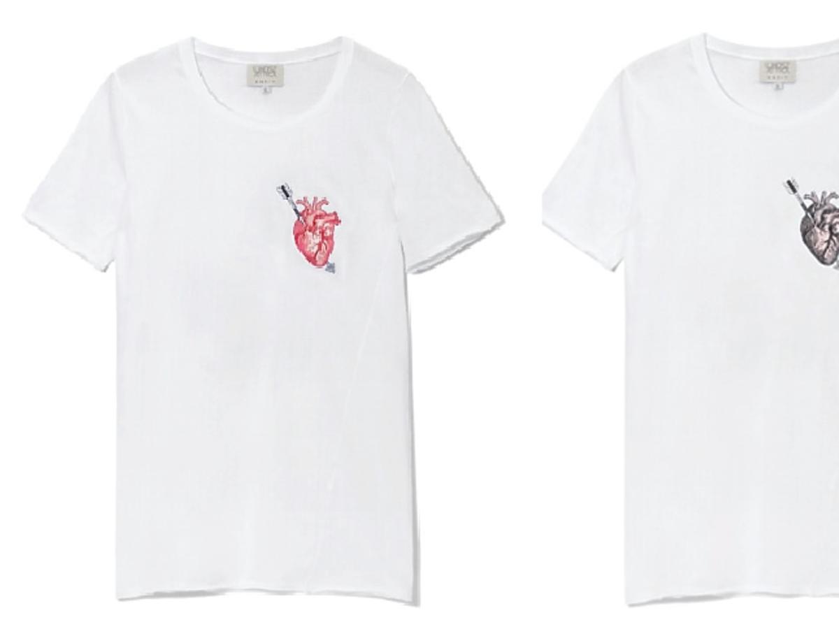 Białe koszulki z nadrukowanym sercem