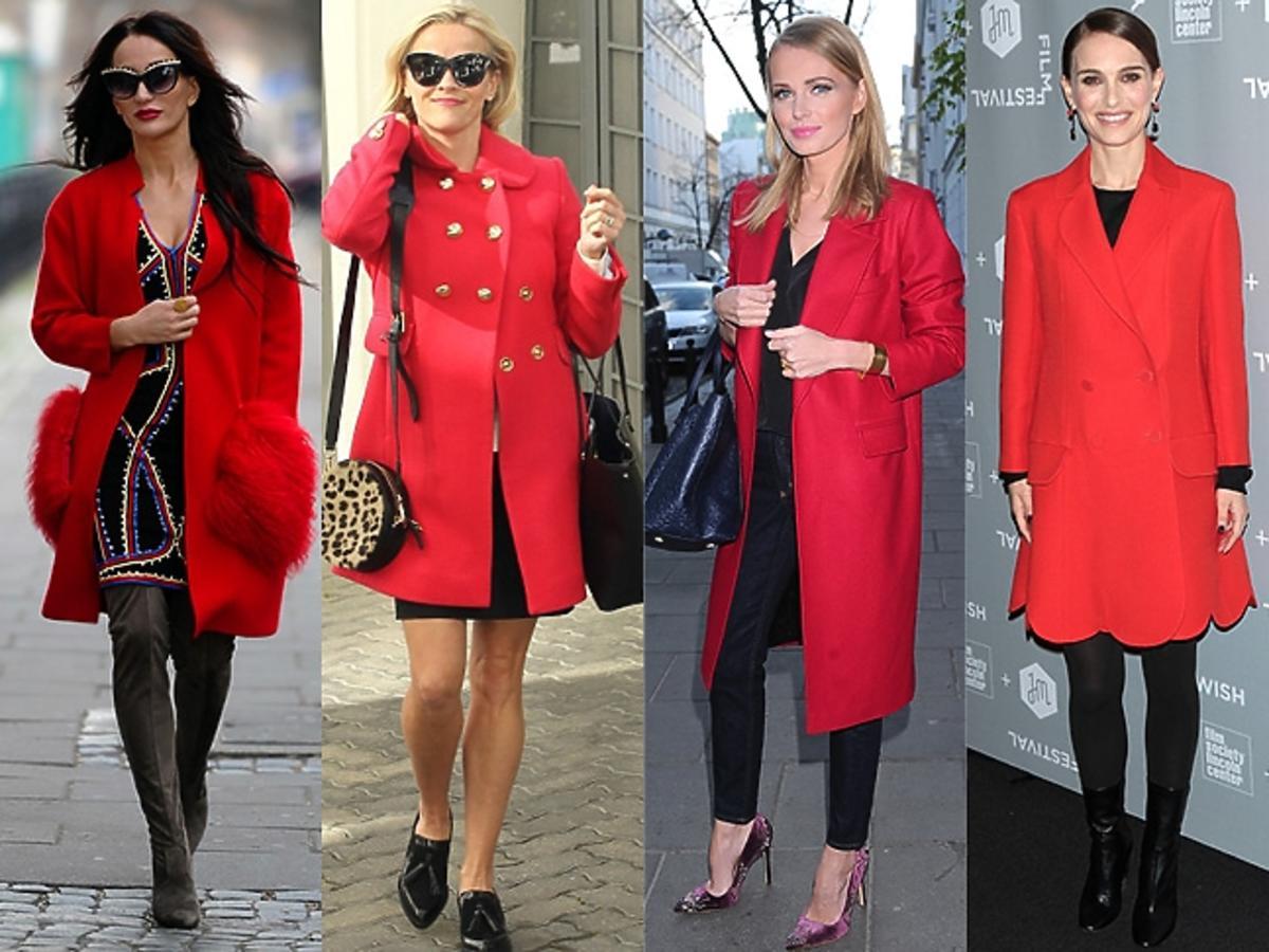 Justyna Steczkowska, Reese Witherspoon, Agnieszka Cegielska, Rita Ora, Natalie Portman w czerwonych płaszczach