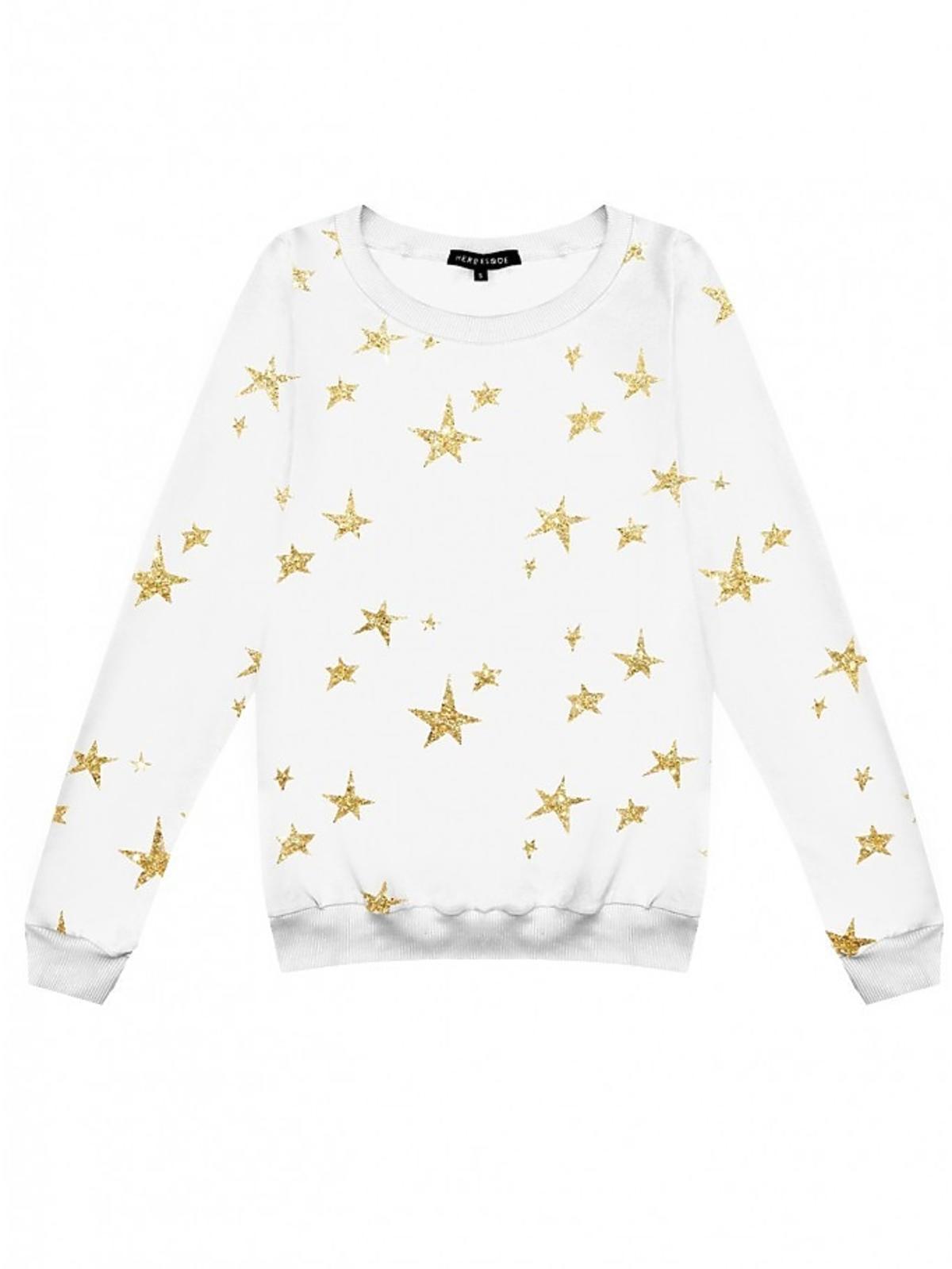 Biała bluza w gwiazdki