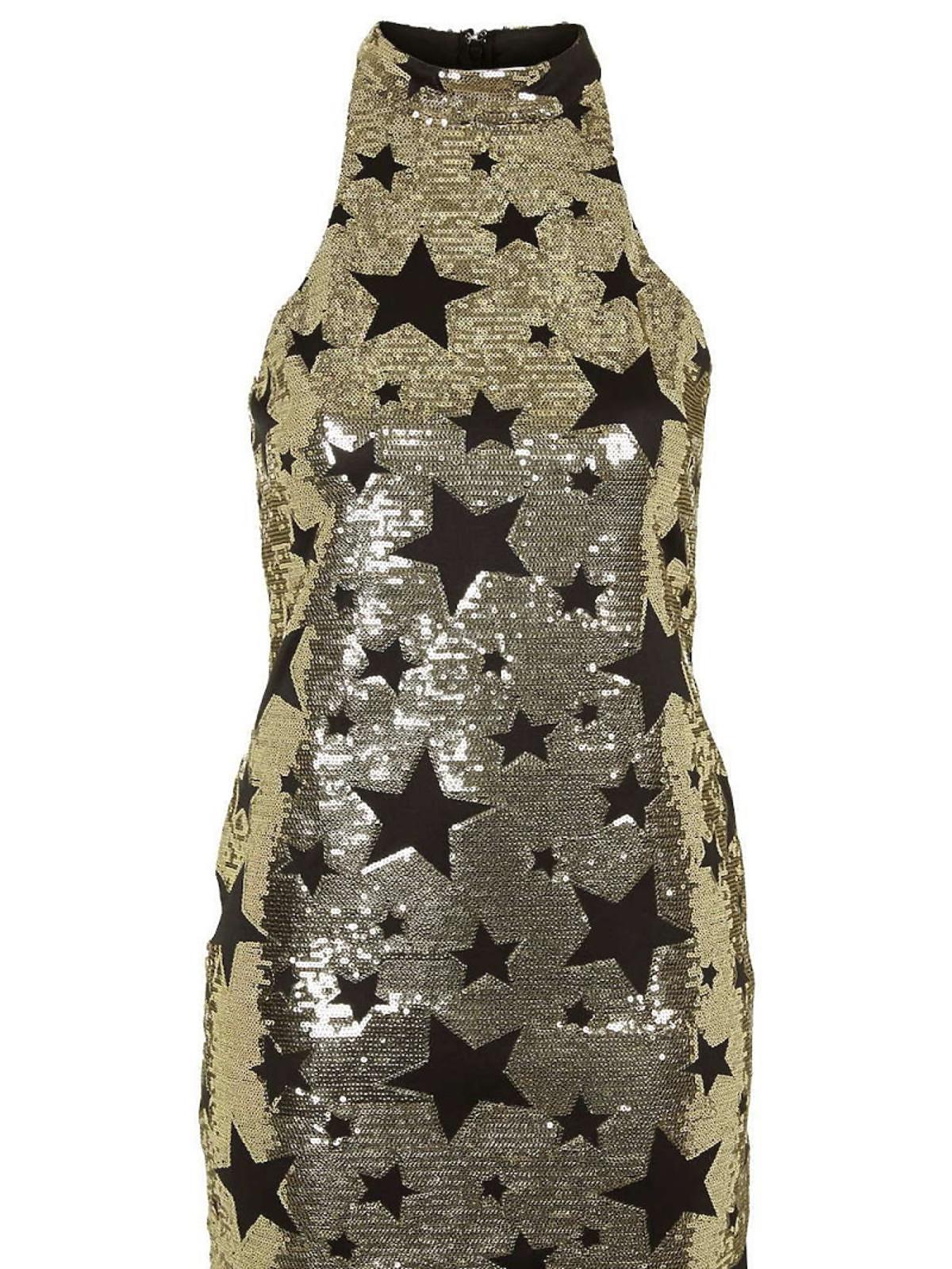 złota sukienka w gwiazdki