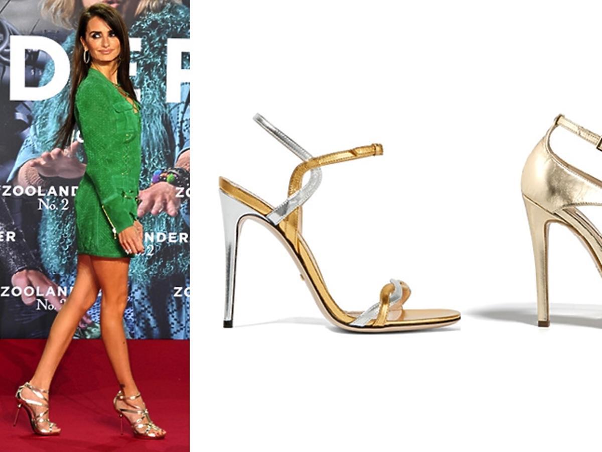 Penelope Cruz, metaliczne sandały na szpilce
