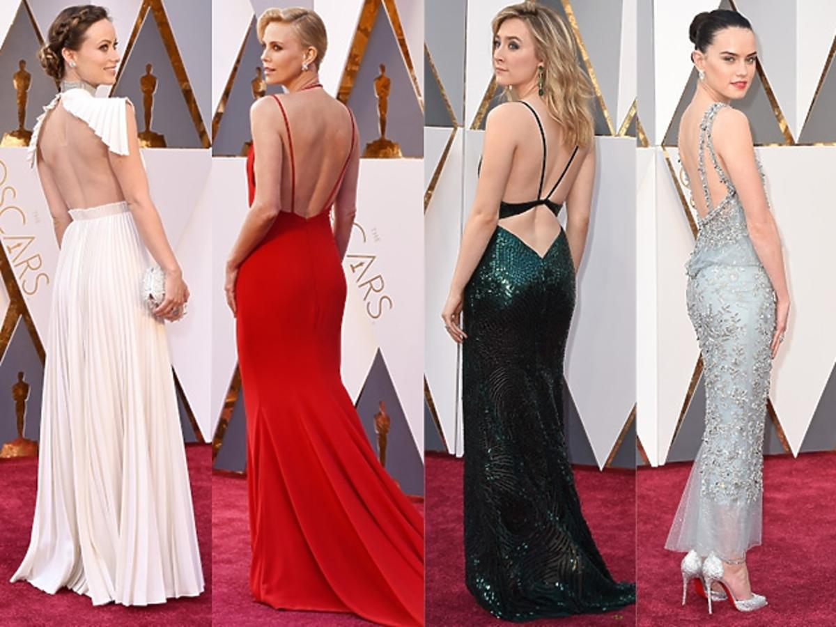 Olivia Wilde, Charlize Theron, Daisy Ridley, Rachel McAdams, Saoirse Ronan w sukniach z gołymi plecami