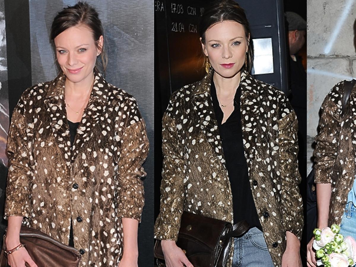 3 stylizacje Magdaleny Boczarskiej w cętkowanym płaszczu