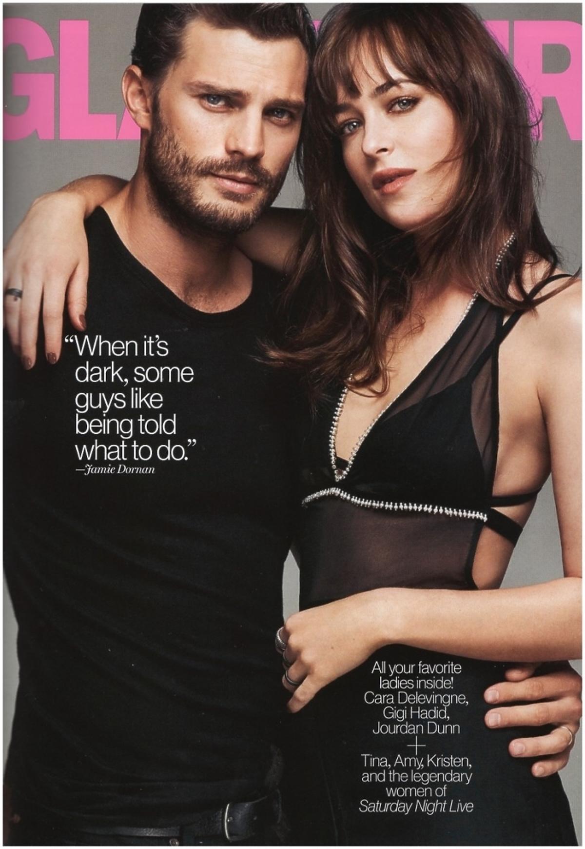 50 twarzy Greya: Dakota Johnson i Jamie Dornan na okładce Glamour luty 2015. Jamie Dornan gay
