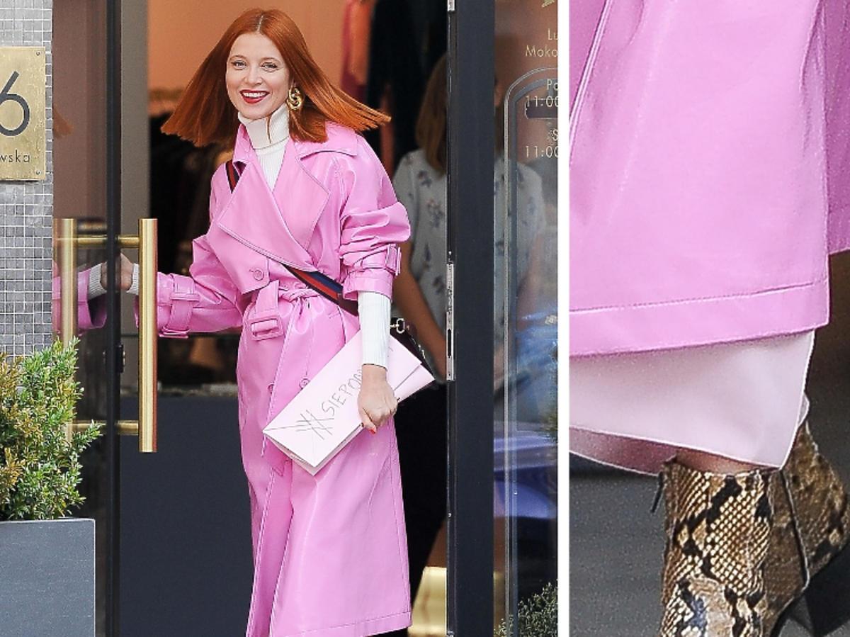 Ada Fijał w różowym płaszczu i botkach w zwierzęcy print