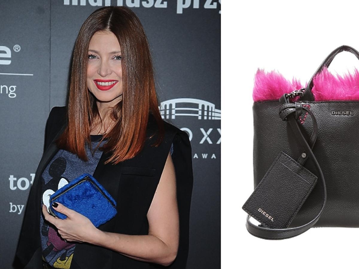 Ada Fijał z niebieską torebką z futerkiem i czarna torba z różowym futrem