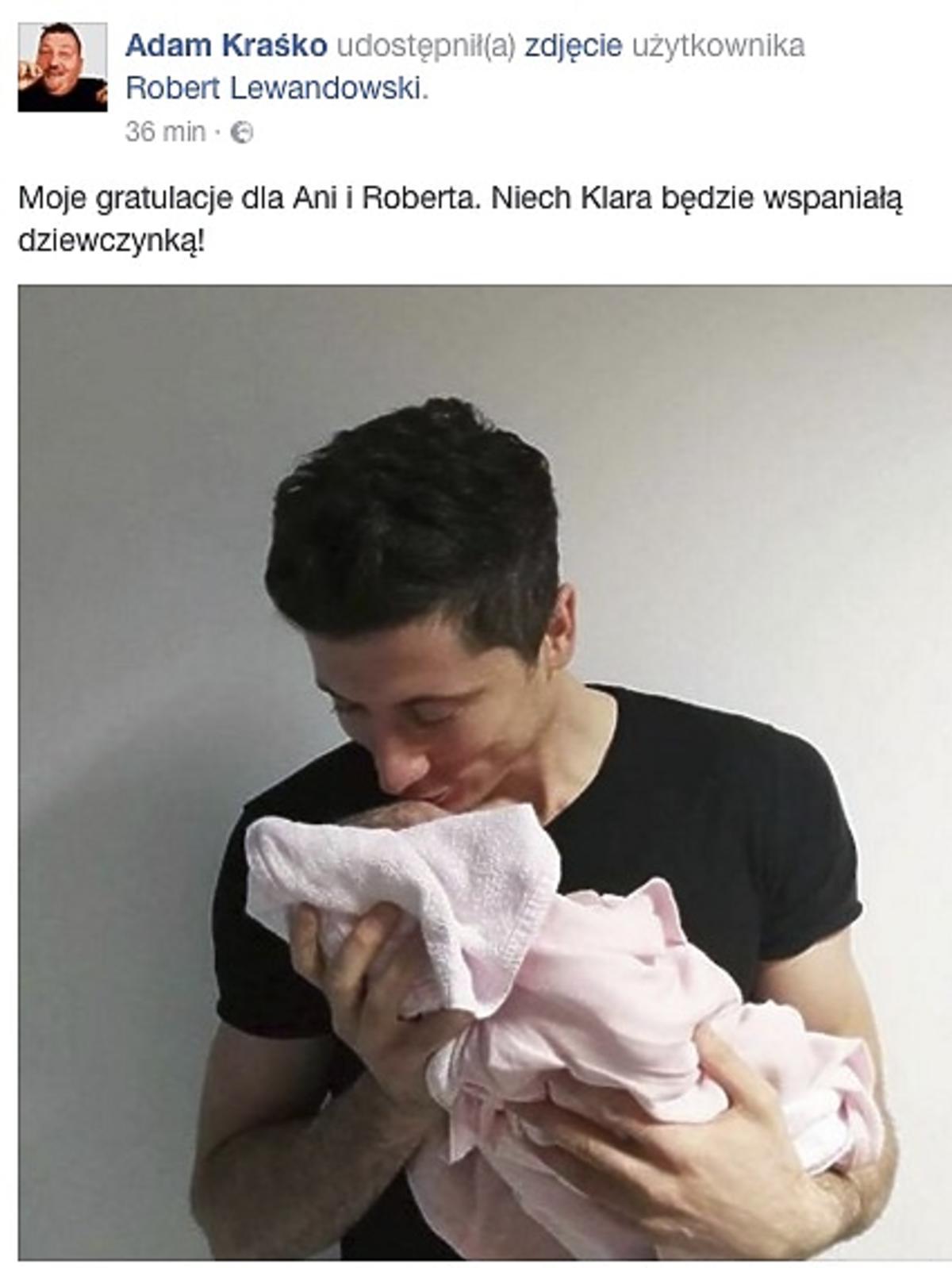 Adam Krasko gratuluje córki Lewandowskim